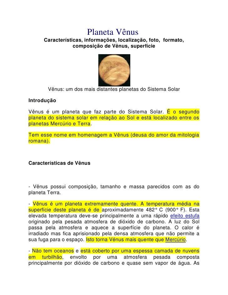 Planeta VênusCaracterísticas, informações, localização, foto, formato, composição de Vênus, superfície <br />Vênus: um d...