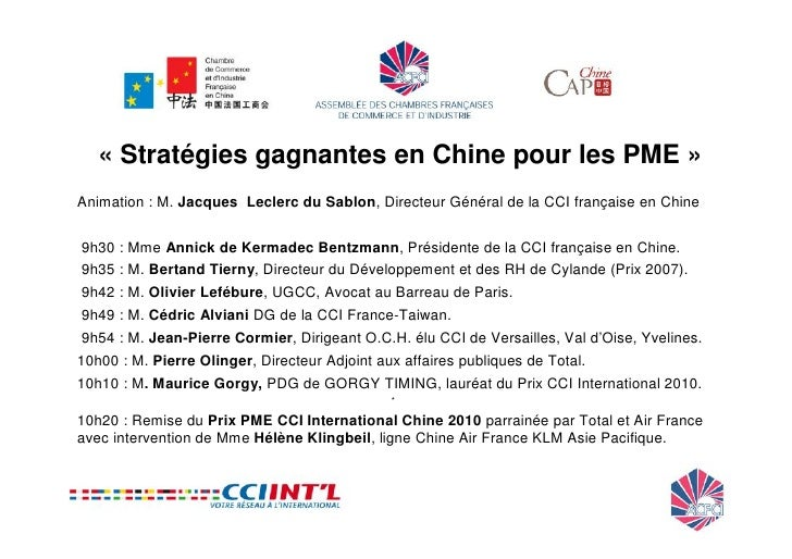 Planete pme 15 juin 2010 conference et gorgy timing prix for Chambre commerce franco chinoise