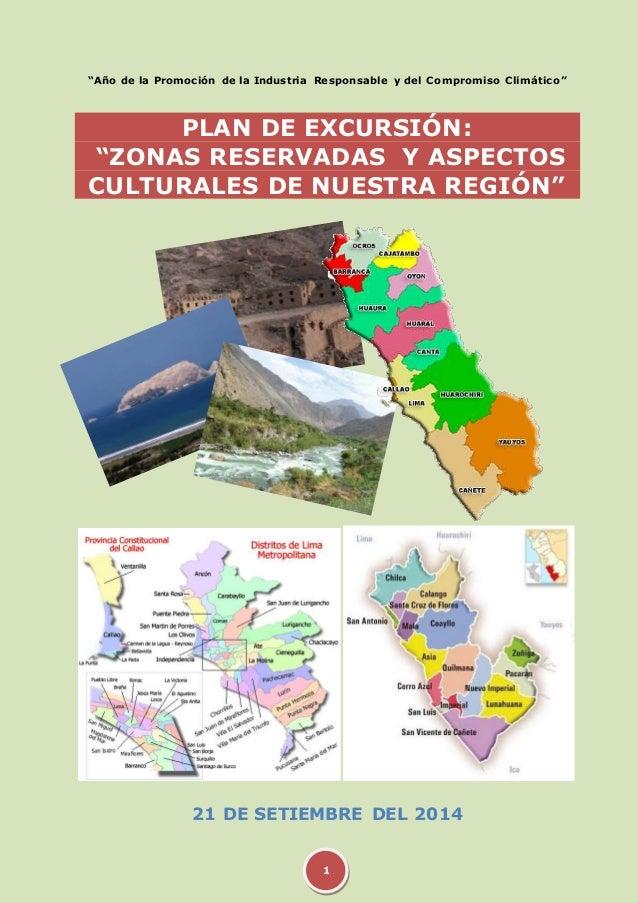 """""""Año de la Promoción de la Industria Responsable y del Compromiso Climático""""  PLAN DE EXCURSIÓN:  """"ZONAS RESERVADAS Y ASPE..."""