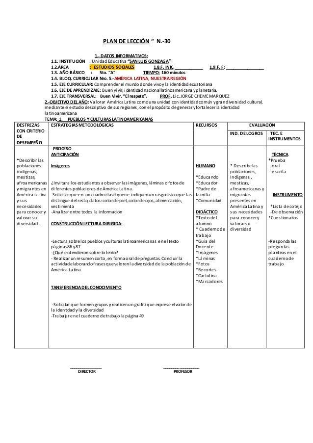 """PLAN DE LECCIÓN """" N.-30  1.- DATOS INFORMATIVOS:  1.1. INSTITUCIÓN : Unidad Educativa """"SAN LUIS GONZAGA""""  1.2.ÁREA : ESTUD..."""