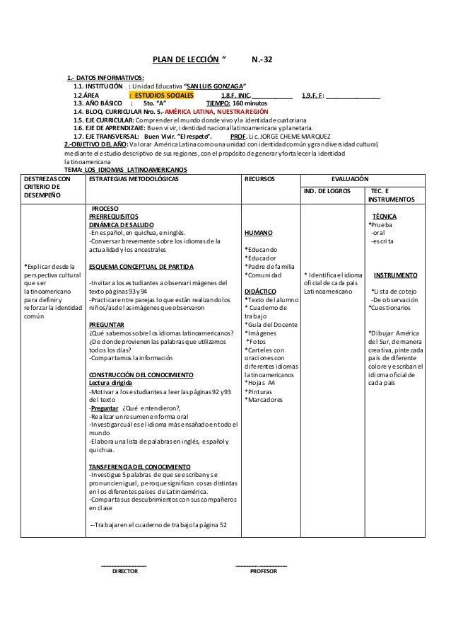 """PLAN DE LECCIÓN """" N.-32  1.- DATOS INFORMATIVOS:  1.1. INSTITUCIÓN : Unidad Educativa """"SAN LUIS GONZAGA""""  1.2.ÁREA : ESTUD..."""