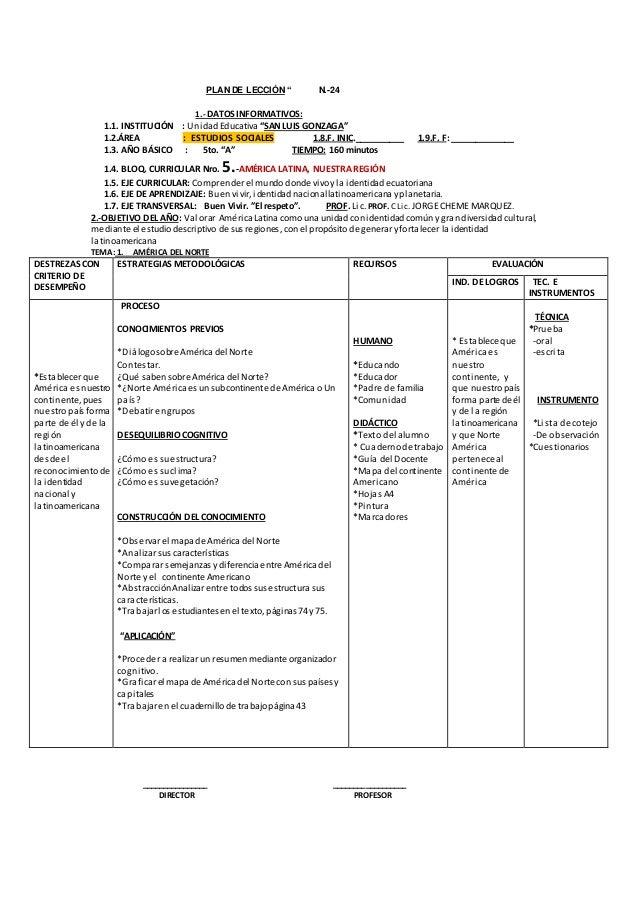"""PLAN DE LECCIÓN """" N.-24  1.- DATOS INFORMATIVOS:  1.1. INSTITUCIÓN : Unidad Educativa """"SAN LUIS GONZAGA""""  1.2.ÁREA : ESTUD..."""