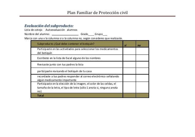 Plan Familiar de Protección civilEvaluación del subproducto:Lista de cotejo Autoevaluación alumnosNombre del alumno:      ...