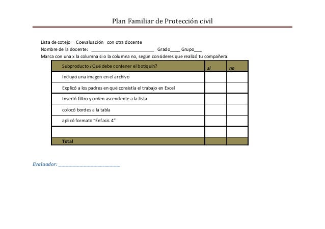 Plan Familiar de Protección civil    Lista de cotejo Coevaluación con otra docente    Nombre de la docente:               ...