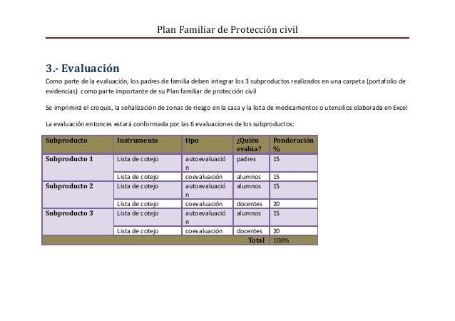Plan Familiar de Protección civil3.- EvaluaciónComo parte de la evaluación, los padres de familia deben integrar los 3 sub...