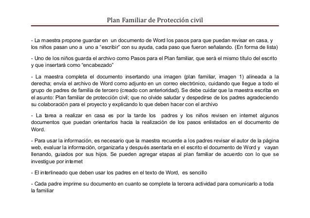 Plan Familiar de Protección civil- La maestra propone guardar en un documento de Word los pasos para que puedan revisar en...