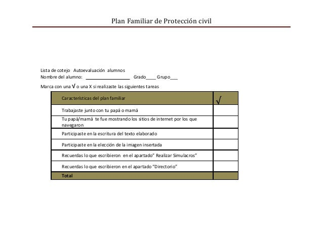 Plan Familiar de Protección civilLista de cotejo Autoevaluación alumnosNombre del alumno:                            Grado...