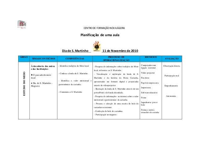 CENTRODE FORMAÇÃONOVA ÁGORA Planificação de uma aula Dia de S. Martinho 11 de Novembro de 2010 ÁREAS ÁREAS TEMAS/CONTEÚDOS...
