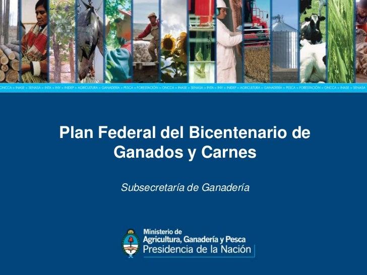 Plan Federal del Bicentenario de       Ganados y CarnesPLAN FEDERAL DEL BICENTENARIO    DESubsecretaría de Ganadería      ...