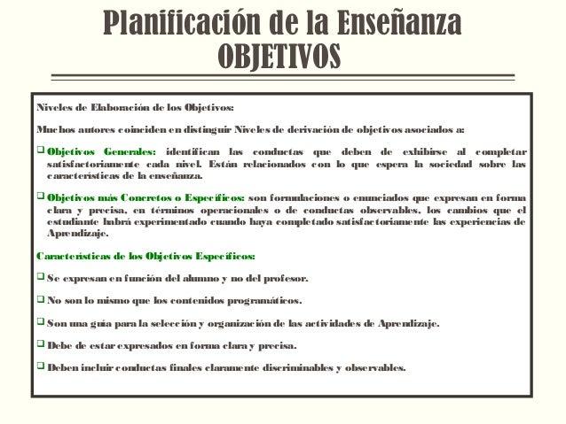 Planificación de la Enseñanza OBJETIVOS Niveles de Elaboración de los Objetivos: Muchos autores coinciden en distinguir Ni...