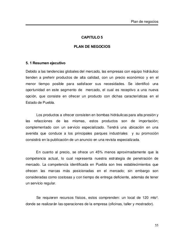 Plan de negocios                                      CAPITULO 5                                  PLAN DE NEGOCIOS5. 1 Res...