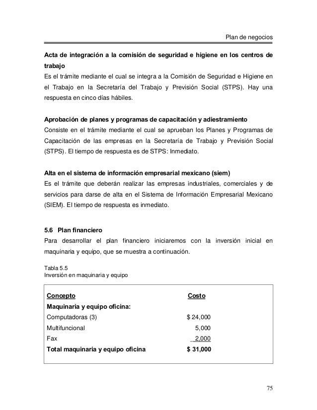 Plan de negociosActa de integración a la comisión de seguridad e higiene en los centros detrabajoEs el trámite mediante el...