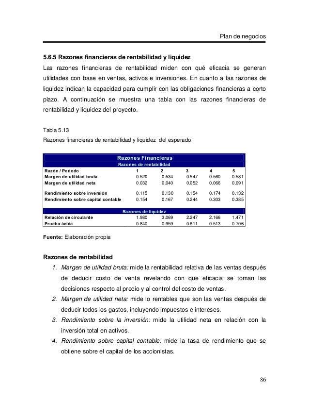 Plan de negocios5.6.5 Razones financieras de rentabilidad y liquidezLas razones financieras de rentabilidad miden con qué ...
