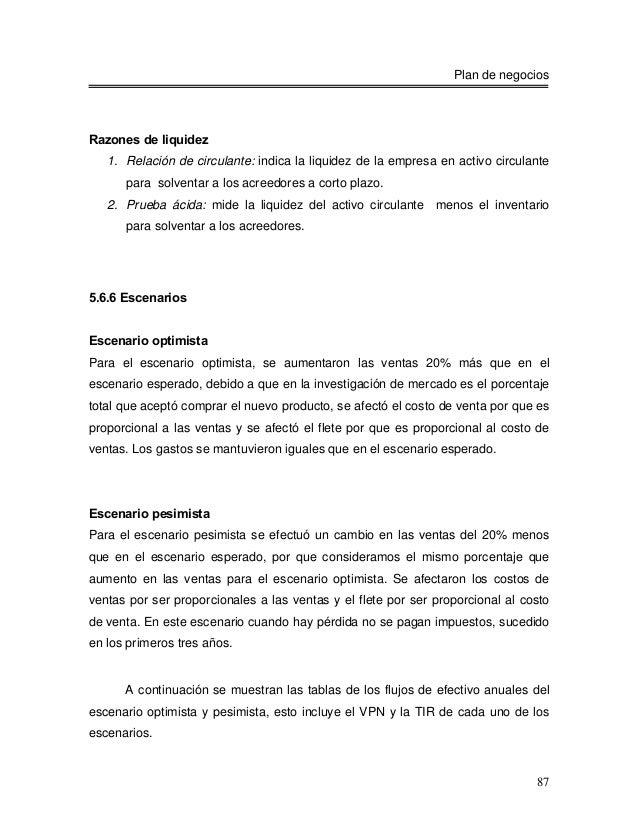 Plan de negociosRazones de liquidez   1. Relación de circulante: indica la liquidez de la empresa en activo circulante    ...