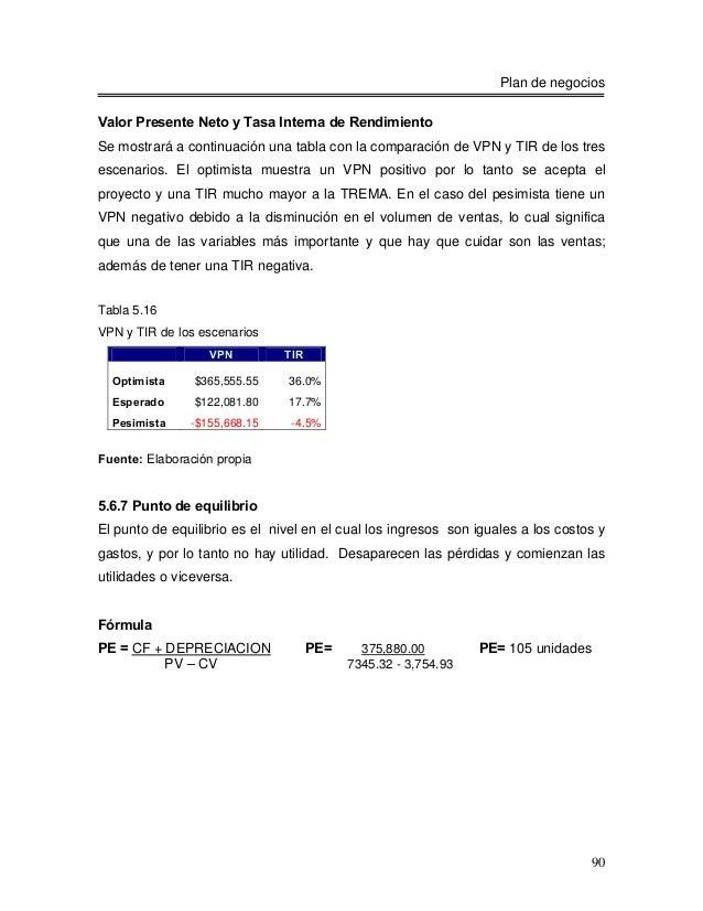 Plan de negociosValor Presente Neto y Tasa Interna de RendimientoSe mostrará a continuación una tabla con la comparación d...