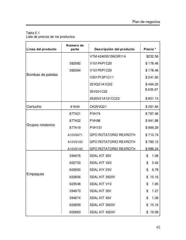 Plan de negociosTabla 5.1Lista de precios de los productos                           Número deLínea del producto          ...