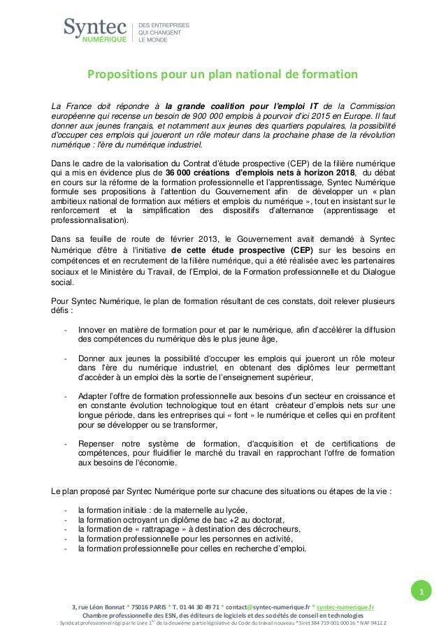 Propositions pour un plan national de formation La France doit répondre à la grande coalition pour l'emploi IT de la Commi...