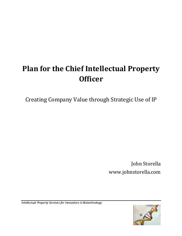 Plan for the Chief Intellectual Property Officer Creating Company Value through Strategic Use of IP  John Storella www.joh...
