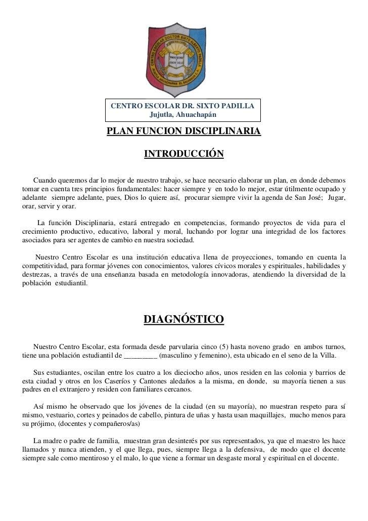 CENTRO ESCOLAR DR. SIXTO PADILLA                                     Jujutla, Ahuachapán                            PLAN F...