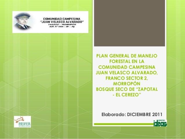 PLAN GENERAL DE MANEJO     FORESTAL EN LA COMUNIDAD CAMPESINAJUAN VELASCO ALVARADO,   FRANCO SECTOR 2,      MORROPÓNBOSQUE...