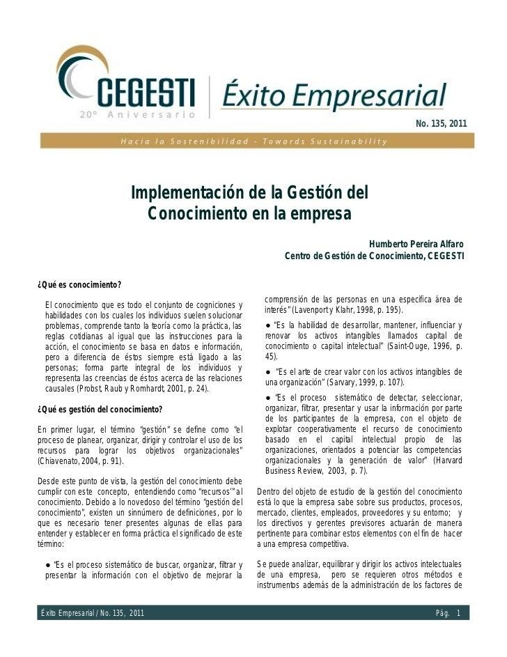 No. 135, 2011                             Implementación de la Gestión del                               Conocimiento en l...