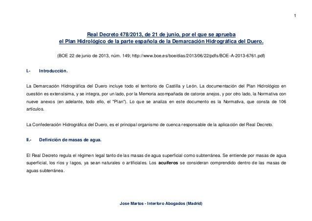 1 Jose Martos - Interforo Abogados (Madrid) Real Decreto 478/2013, de 21 de junio, por el que se aprueba el Plan Hidrológi...