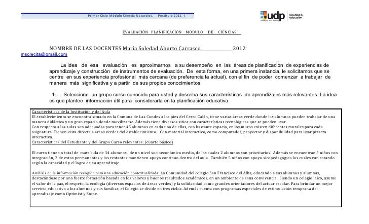 Primer Ciclo Módulo Ciencia Naturales.   Postítulo 2011 -I                                                      EVALUACIÓN...