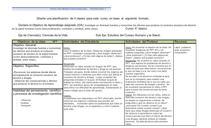 Primer Ciclo Módulo Ciencia Naturales.   Postítulo 2011 -I                       Diseñe una planificación de 4 clases para...