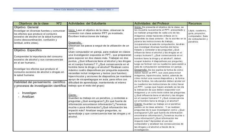 Primer Ciclo Módulo Ciencia Naturales.   Postítulo 2011 -I   Objetivos de la clase          Nº2        Actividades del Est...