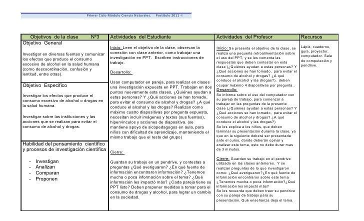 Primer Ciclo Módulo Ciencia Naturales.   Postítulo 2011 -I   Objetivos de la clase             Nº3       Actividades del E...