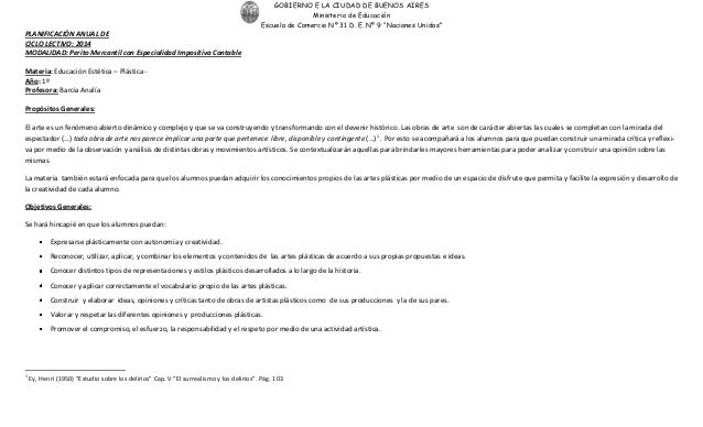 """GOBIERNO E LA CIUDAD DE BUENOS AIRES Ministerio de Educación Escuela de Comercio Nº 31 D. E. Nº 9 """"Naciones Unidas"""" PLANIF..."""