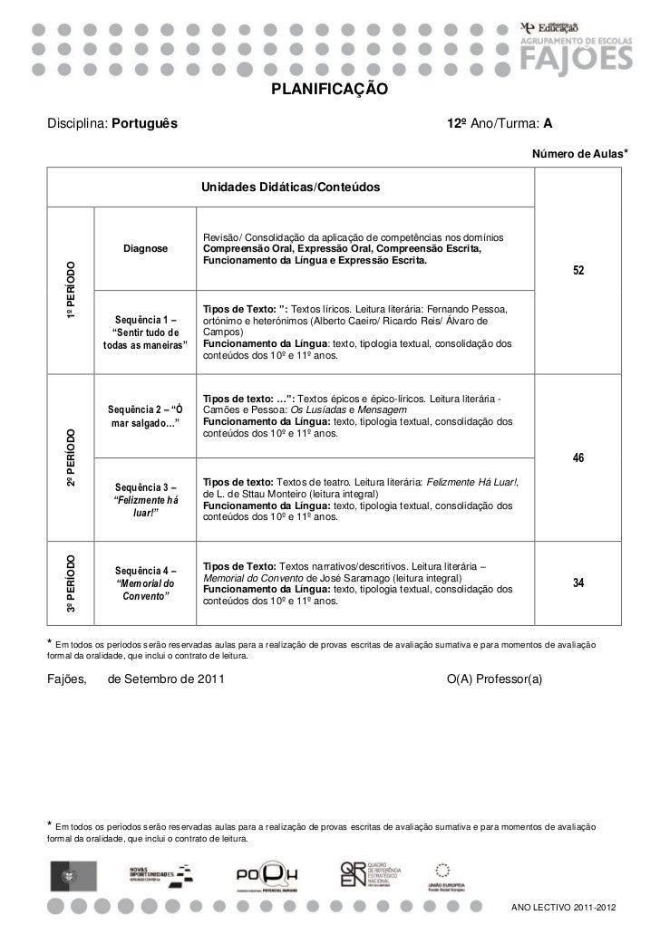 PLANIFICAÇÃODisciplina: Português                                                                            12º Ano/Turma...