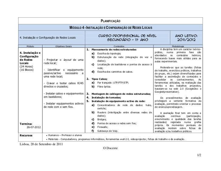 PLANIFICAÇÃO                                         MÓDULO 4 - INSTALAÇÃO E CONFIGURAÇÃO DE REDES LOCAIS4. Instalação e C...