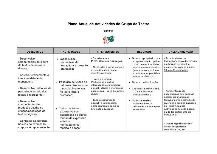 Plano Anual de Actividades do Grupo de Teatro                                                                  2010/11    ...