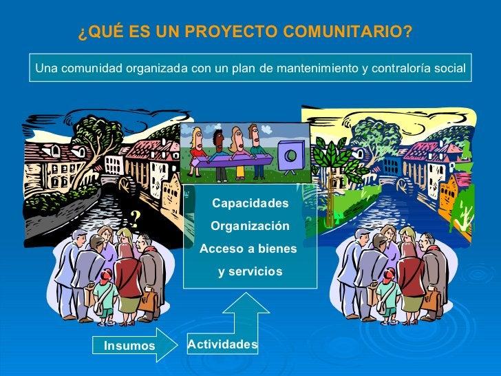 ¿QUÉ ES UN PROYECTO COMUNITARIO? Capacidades Organización Acceso a bienes  y servicios Actividades Insumos Una comunidad o...
