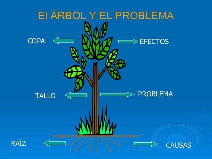 El ÁRBOL Y EL PROBLEMA EFECTOS PROBLEMA RAÍZ CAUSAS TALLO COPA