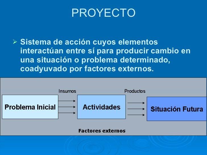 PROYECTO <ul><li>Sistema de acción cuyos elementos interactúan entre sí para producir cambio en una situación o problema d...