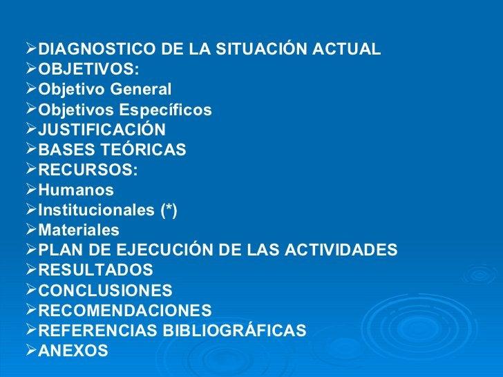 <ul><li>DIAGNOSTICO DE LA SITUACIÓN ACTUAL </li></ul><ul><li>OBJETIVOS: </li></ul><ul><li>Objetivo General </li></ul><ul><...