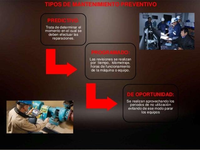 TIPOS DE MANTENIMIENTO PREVENTIVO PREDICTIVO: Trata de determinar el momento en el cual se deben efectuar las reparaciones...