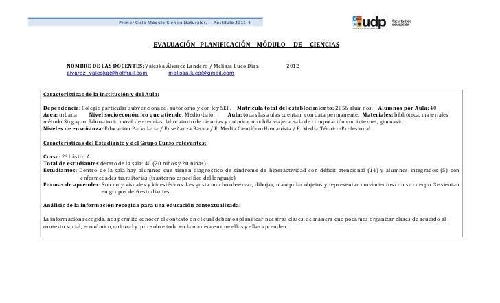 Primer Ciclo Módulo Ciencia Naturales.   Postítulo 2011 -I                                           EVALUACIÓN PLANIFICAC...