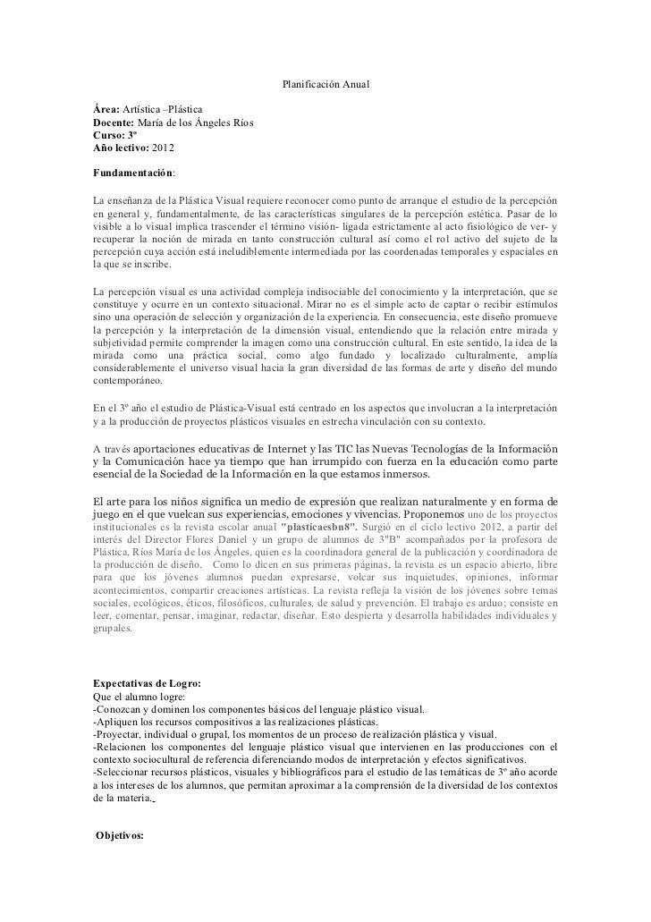 Planificación AnualÁrea: Artística –PlásticaDocente: María de los Ángeles RíosCurso: 3ºAño lectivo: 2012Fundamentación:La ...