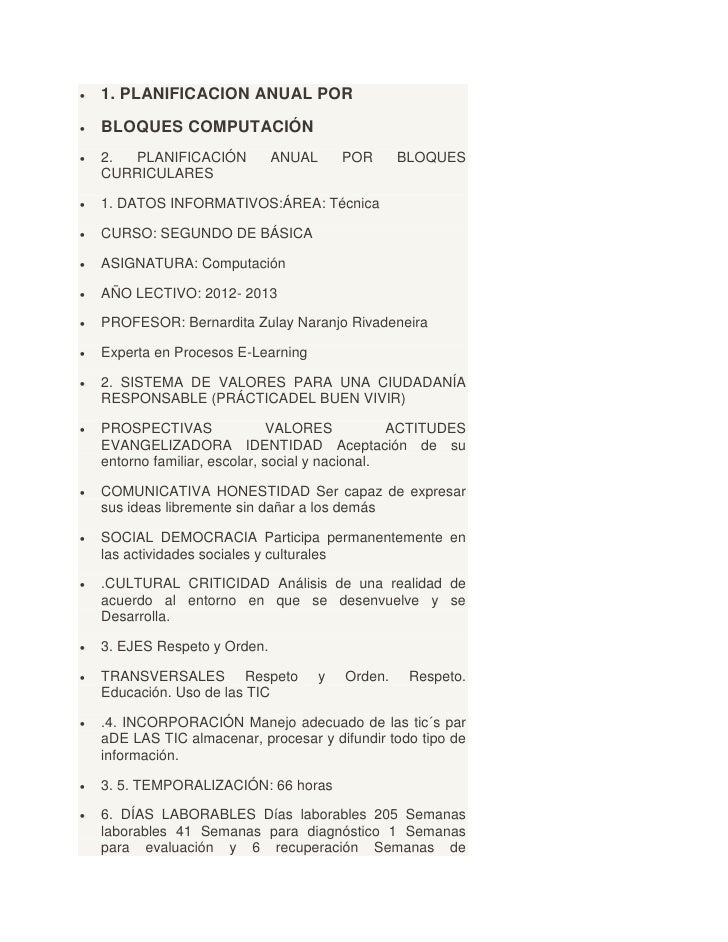    1. PLANIFICACION ANUAL POR   BLOQUES COMPUTACIÓN   2. PLANIFICACIÓN           ANUAL       POR      BLOQUES    CURRIC...