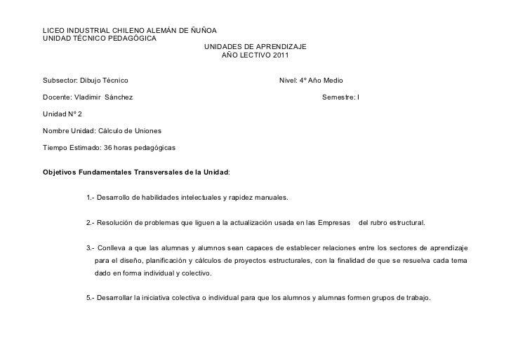 LICEO INDUSTRIAL CHILENO ALEMÁN DE ÑUÑOAUNIDAD TÉCNICO PEDAGÓGICA                                      UNIDADES DE APRENDI...