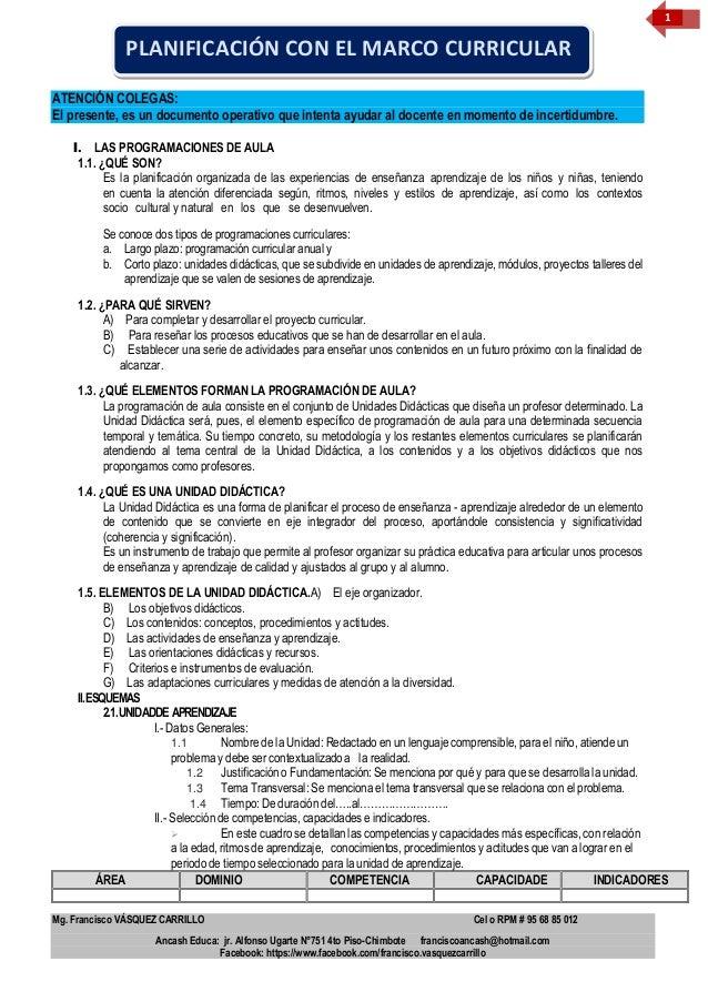 Mg. Francisco VÁSQUEZ CARRILLO Cel o RPM # 95 68 85 012 Ancash Educa: jr. Alfonso Ugarte N°751 4to Piso-Chimbote francisco...