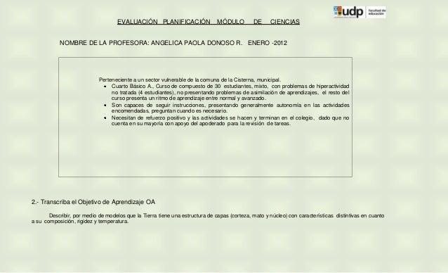 EVALUACIÓN PLANIFICACIÓN                  MÓDULO         DE     CIENCIAS           NOMBRE DE LA PROFESORA: ANGELICA PAOLA ...