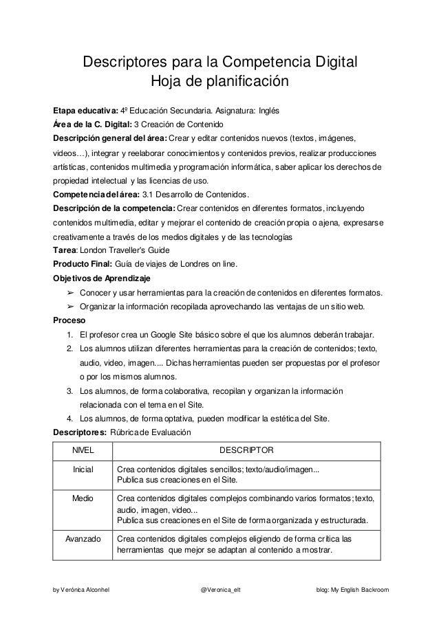 by Verónica Alconhel @Veronica_elt blog: My English Backroom Descriptores para la Competencia Digital Hoja de planificació...