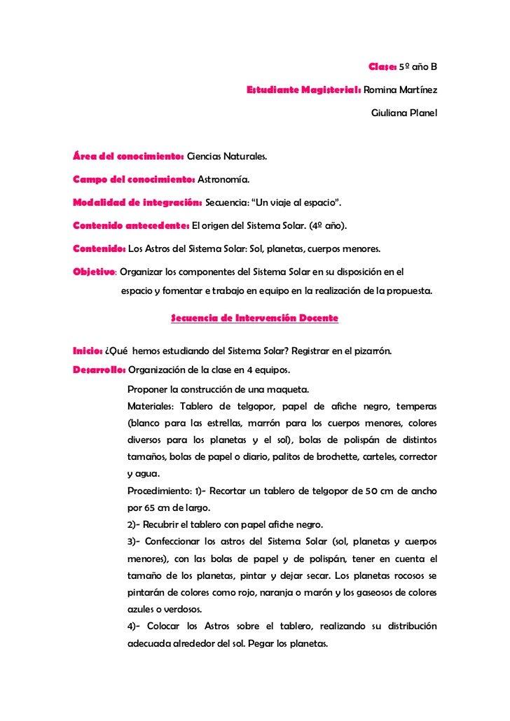 Clase: 5º año B                                        Estudiante Magisterial: Romina Martínez                            ...
