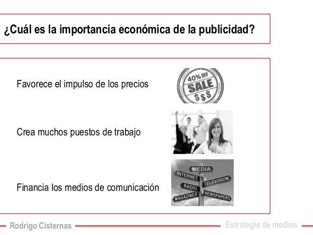 ¿Cuál es la importancia económica de la publicidad?  Estrategia de medios  Favorece el impulso de los precios  Crea muchos...