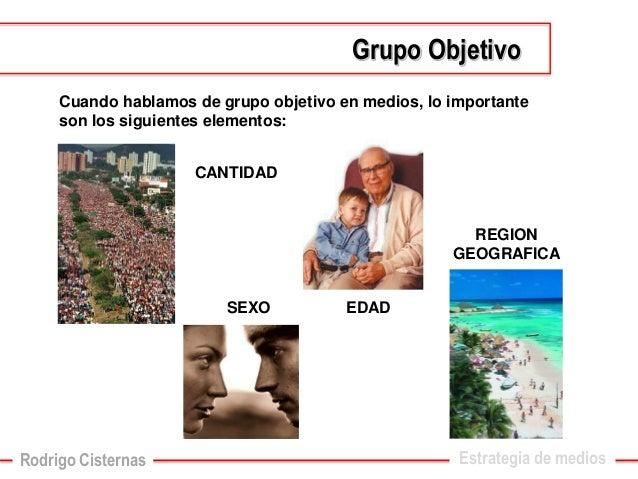 Cuando hablamos de grupo objetivo en medios, lo importante son los siguientes elementos:  CANTIDAD  SEXO  EDAD  REGION GEO...