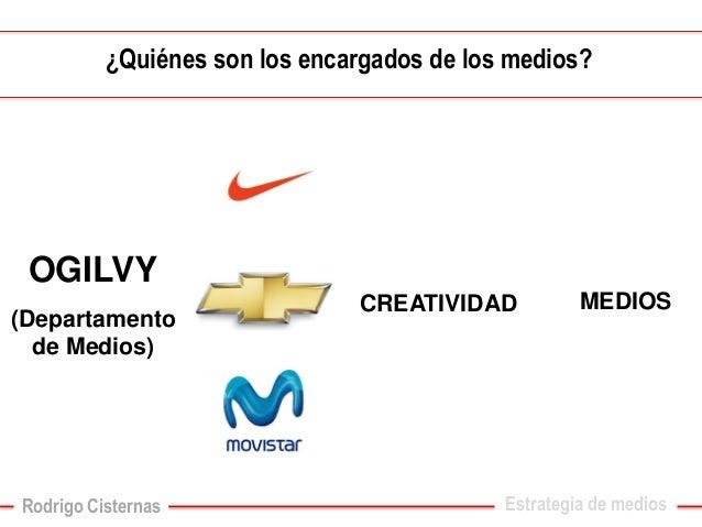 ¿Quiénes son los encargados de los medios?  CREATIVIDAD  OGILVY  (Departamento de Medios)  MEDIOS  Estrategia de medios  R...